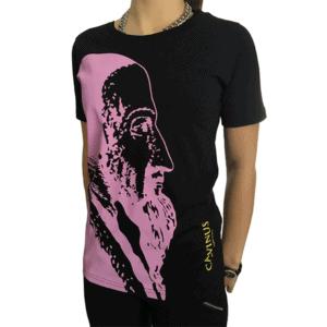T-shirt femme, noir/rose Calvinus